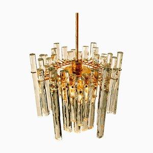 Lampadario in cristallo e metallo dorato di Kinkeldey per Cor, Germania, anni '70