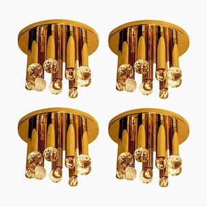 Lampada ad incasso in cristallo Swarovski e ottone dorato di Ernst Palme per Elco, anni '60