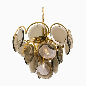 Italian Vistosi Style Smoked Glass and Brass Chandeliers for Tonia