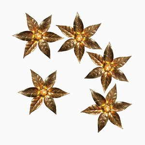 Willy Daro Style Brass Flowers Wall Lights, Set of 5