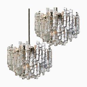 Large Ice Glass Chandeliers by J. T. Kalmar, Set of 2