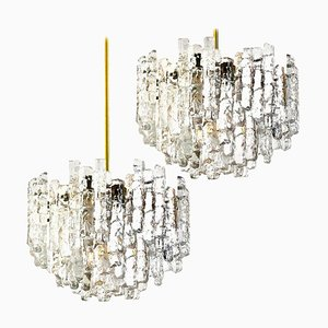 Large Modern Three-Tiered Brass Ice Glass Chandeliers by J.t. Kalmar for Isa, Set of 2