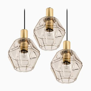 Geometric Brass and Clear Glass Pendant Light from Limburg, 1960s