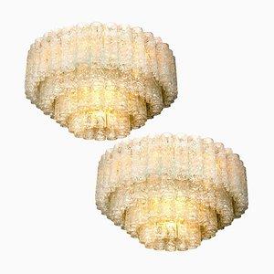 Lampade da parete con tubi in vetro di Doria, anni '60, set di 2