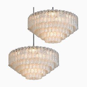 Lampadari grandi da sala da ballo in vetro soffiato di Doria, set di 2