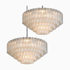 Large Ballroom Chandeliers with Blown Glass Tubes from Doria, Set of 2