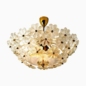 Florale Einbaulampe aus Glas & Messing von Ernst Palme, 1970er
