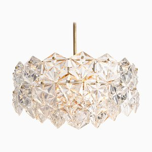Faceted Crystal and Gilt Metal Four-Tier Chandelier from Kinkeldey, 1970s