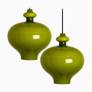 Green Glass Pendant Lights by Hans-Agne Jakobsson for Staff, 1960s, Set of 2
