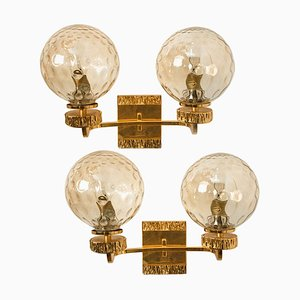 Large Gold-Plated Glass Wall Light in the Style of Brotto, Italy