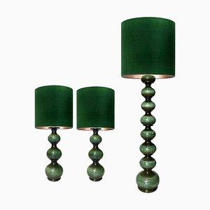 Lámparas grandes de cerámica con nuevas pantallas de seda René Houben. Juego de 3