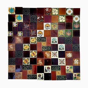 Panel of 25 Authentic Handmade Tiles, France, 1930s