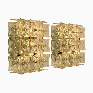Wandlampen aus Nickel Kristallglas von Kinkeldey, 1970er