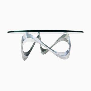 Tavolino da caffè Snake in alluminio e vetro di Ronald Schmitt per Knut Hesterberg, anni '60