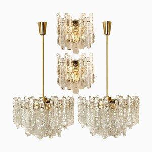 Eisglas Leuchten, 2 Wandleuchten und 2 Kronleuchter von Kalmar, 4er Set