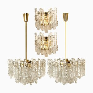 Ice Glass Light Fixtures, 2 Wall Scones and 2 Chandeliers from Kalmar, Set of 4