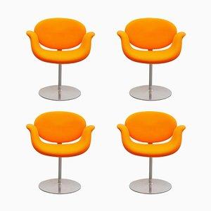Sedie girevoli Tulip arancioni di Pierre Paulin per Artifort, anni '80, set di 3