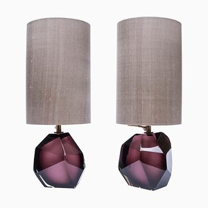 Purple Murano Diamond Cut Faceted Glass Table Lamps, Set of 2