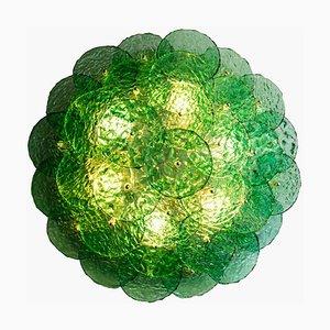 Murano Emerald Green Textured Blown Disc Glass Lamp