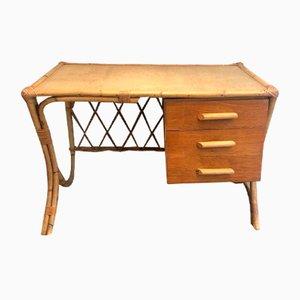 Französischer Rattan Schreibtisch, 1970er