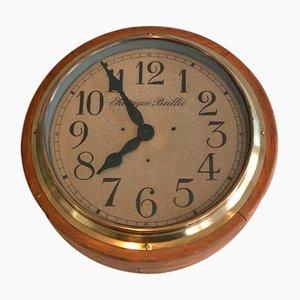 Holz und Messing Uhr. von Electrique Brillé, Frankreich, 1900er
