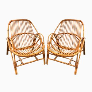 Frencg Rattan Armchairs, 1970s, Set of 2