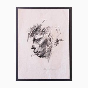 Mino Maccari - Portrait - Dibujo original en carbón sobre papel - años 60