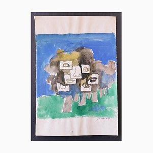 Mino Maccari - Composition - Original Watercolor - 1970s