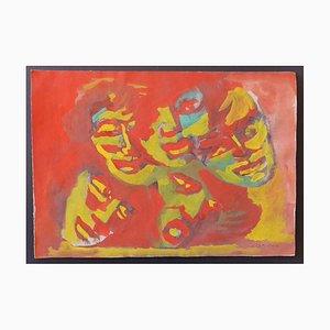 Mino Maccari - The Masks - Original Drawing with Mixed media paper - 1950s