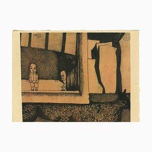 Jorge Castillo - Little Theater - Original China Ink Drawing - 1960