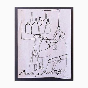 Mino Maccari - Morandi oder Molotov - Original Federzeichnung auf Papier - 1960er Jahre