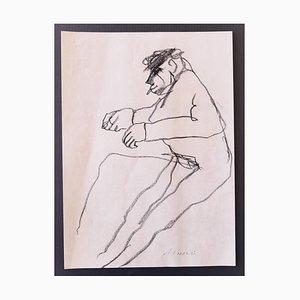 Mino Maccari - Figure - Original Drawing in Charcoal on Paper - 1960