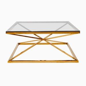 Tavolino da caffè con cornice in ottone