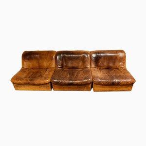 Sofá modular DS46 vintage de cuero de tres piezas de de Sede, años 70. Juego de 3