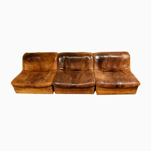 Vintage Leather DS46 Modular Three Piece Sofa by de Sede, 1970s, Set of 3