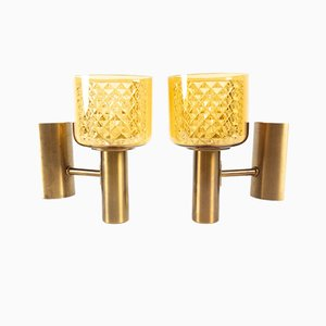 Danish Brass Sconces from Lyfa, 1960s, Set of 2