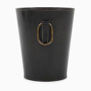 Leather Wastepaper Basket by Carl Auböck for Illums Bolighus, 1950s