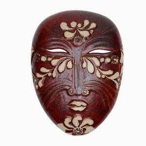Vintage Steingut Asien Wandmaske von Lisa Larson für Gustavsberg