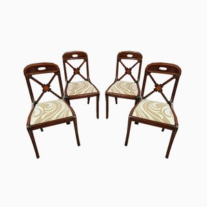 Charles X Empire Period Mahogany and Satinwood Chairs, 1810s, Set of 4