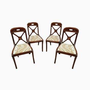 Charles X Empire Stühle aus Mahagoni & Seidenholz, 1810er, 4er Set
