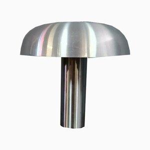 Lámpara hongo grande de acero cepillado y plateado, años 70