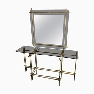 Italian Brass Console and Wall Mirror Set, 1970s
