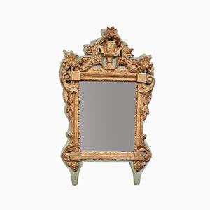 Specchio Regency laccato in legno dorato con decorazioni decorative