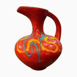 Jarra italiana modernista grande de cerámica roja de Bertoncello, años 80