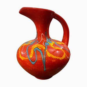Large Modernist Italian Red Ceramic Jug from Bertoncello, 1980s