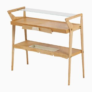 Production Console 50s Italian With Wooden Frame, Glass Top and Details in Lacquered Metal