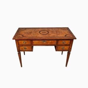 Antique Louis XVI Center Desk with Precious Wood Marquetry, 1850s
