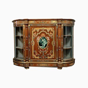 Napoleon III Handpainted Satinwood Half Moon Boulle Display Cabinet