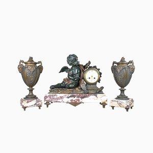 The Messenger of Love Mantelpiece Set by AJ Scotte, 19th Century
