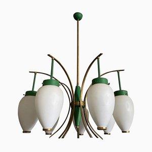 Lampadario in ottone e vetro di Stilnovo, anni '60